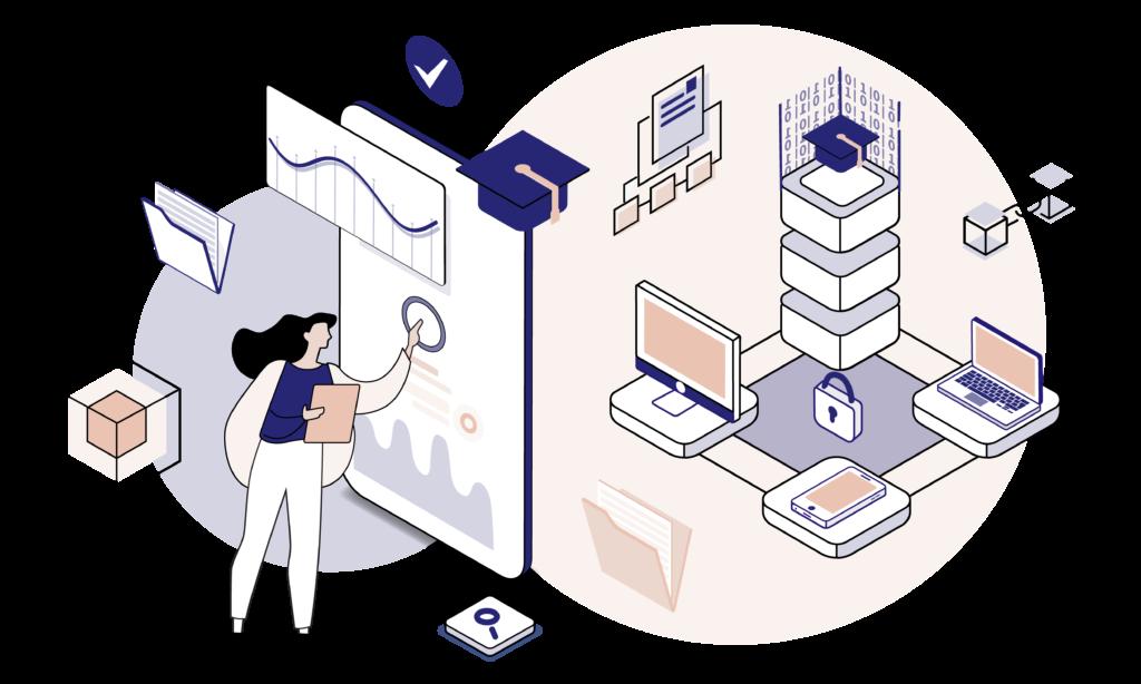 Blockchain in Education illustration